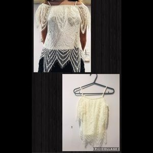 Tops - White flower petal design off the shoulder shirt